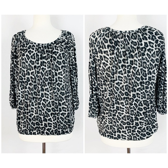MICHAEL Michael Kors Tops - Michael Kors Size M Black Gray Leopard Print